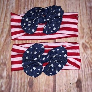 Patriotic red white and blue headband bundle